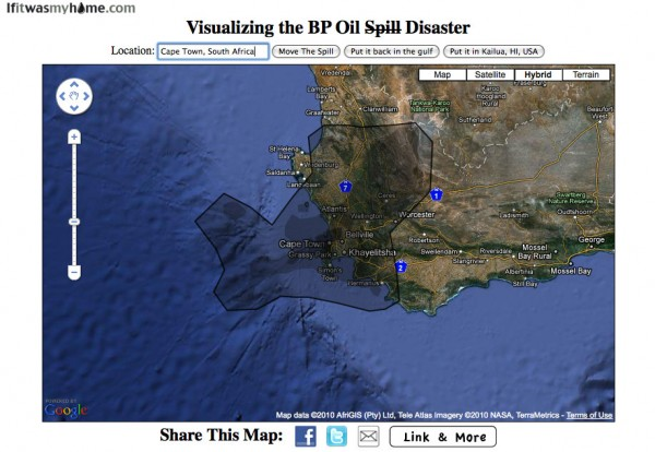 BP oil spill relative to Cape Town, South Africa