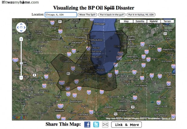 BP oil spill relative to Chicago, IL USA
