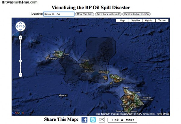 BP Oil Spill compared to Kailua, HI