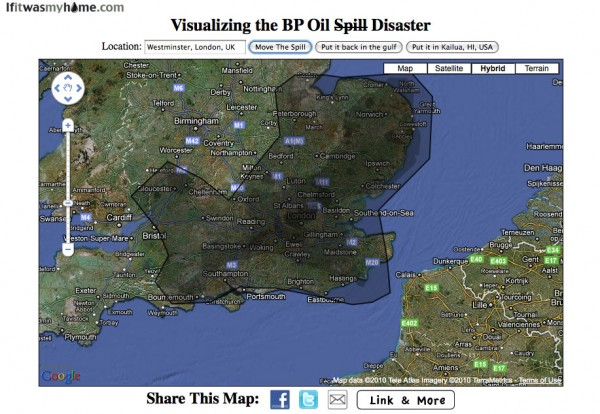 BP oil spill relative to London, UK