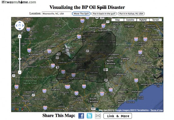 BP oil spill relative to Mooresville, NC USA