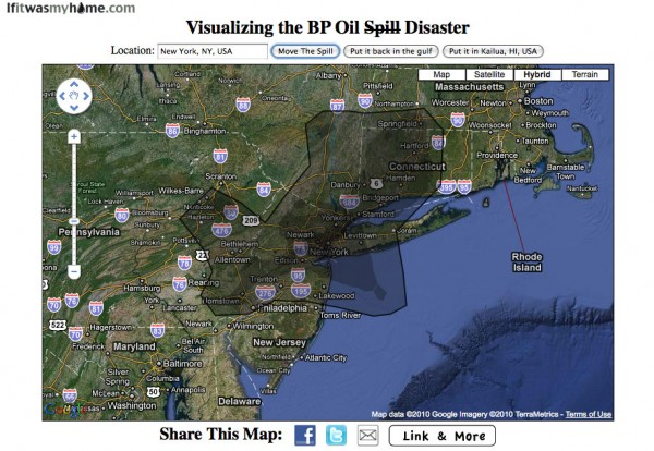 BP oil spill relative to New York, NY USA