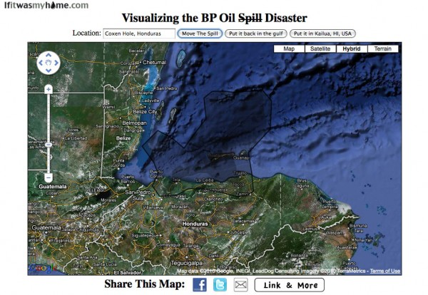 BP oil spill relative to Roatan, Honduras