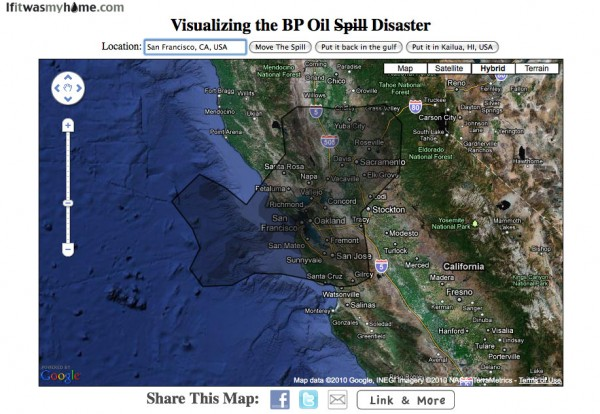 BP oil spill relative to San Francisco, CA USA