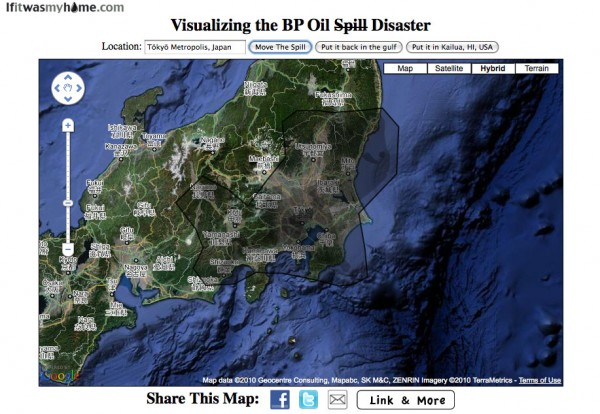 BP oil spill relative to Tokyo, Japan